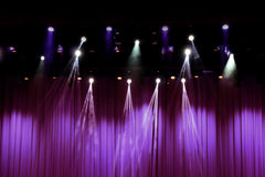 Theater stage with purple curtains Stock Image