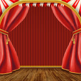 Theater stage. With red Curtain Stock Images