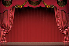 Theater stage with red curtain (with path). Theater stage with red curtain (with clipping path). 3d illustration Stock Photography