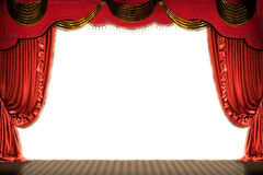 Theater stage with red curtain (with path). Theater stage with red curtain  (with clipping path of space for copy). 3d illustration Royalty Free Stock Image