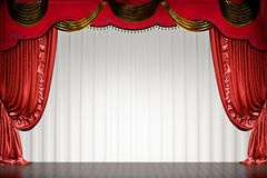 Theater stage with red curtain with path. Theater stage with red curtain  (with clipping path of space for copy). 3d illustration Royalty Free Stock Photography
