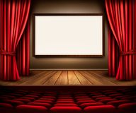 A theater stage with a red curtain, seats and a project board. vector illustration