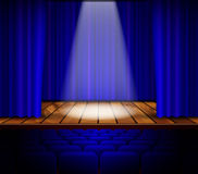 Theater stage with red curtain Royalty Free Stock Photo