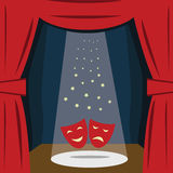 A theater stage with a red curtain, seats. Vector stock illustration