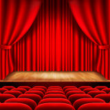 Theater stage with red curtain and seats vector Royalty Free Stock Image
