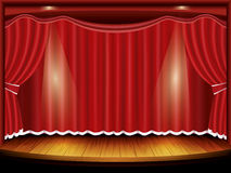Theater stage with red curtain and spotlight. Illustration Stock Photo