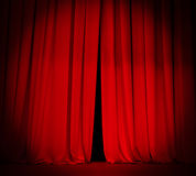 Theater stage red curtain with spotlight background Royalty Free Stock Images