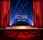A theater stage with a red curtain and a spotlight. Festival night show poster. Vector. stock illustration