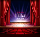 A theater stage with a red curtain a. Nd a spotlight. Festival night show background. Vector Royalty Free Stock Photo