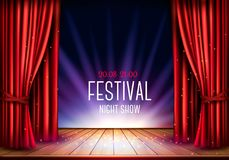 A theater stage with a red curtain royalty free illustration