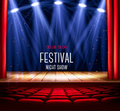 A theater stage with a red curtain and a spotlight. Festival night show poster. Vector Stock Photo