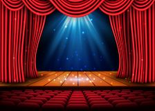A theater stage with a red curtain and a spotlight and wooden floor. Festival Night Show poster. Vector Stock Image