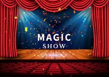 A theater stage with a red curtain and a spotlight and wooden floor. Magic Show poster. Vector.  Royalty Free Stock Photography