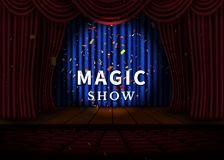 A theater stage with a red curtain and a spotlight and wooden floor. Magic Show poster. Vector Stock Photo