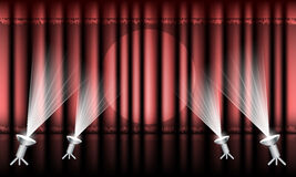 Theater stage with red curtain and spotlights. Royalty Free Stock Photos