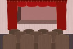Theater stage with red curtain. And brown seats Royalty Free Stock Photography