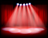 Theater stage with red curtain. Vector illustration. Theater auditorium with stage curtain. Vector illustration Royalty Free Stock Photo