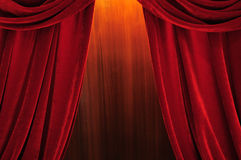 Theater stage red curtains Stock Photos