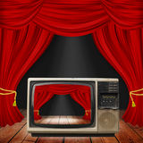 Theater stage with red curtains and spotlights. Theatrical scene Royalty Free Stock Photography