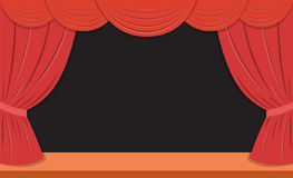 Theater stage with red curtains Royalty Free Stock Images