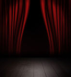 Red curtains and wooden stage floor. Royalty Free Stock Photo