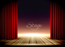 Theater stage with red curtains and wooden floor. Illustration Royalty Free Stock Photography