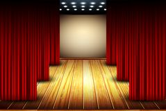 Theater stage. Theater scene with red cloth and wooden floor Royalty Free Stock Images