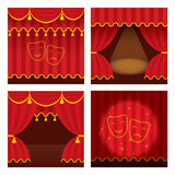 Theater stage set with opened and closed red curtain., ray of light Royalty Free Stock Photography