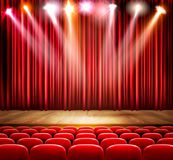 A theater stage with a spotlight. Festival show poster. royalty free illustration