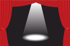 Theater Stage With Spotlight. Vector illustration of a black theater stage with white spotlight and red curtain Royalty Free Stock Photography