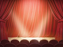 Theater stage with spotlights Royalty Free Stock Photography
