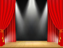 Theater stage with spotlights and red curtain. Royalty Free Stock Photos