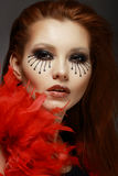 Theater. Stage. Styled Woman's Face with Creative Eye Make-up. Female with Creative Eye Makeup Stock Photo