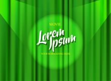 Theater stage template with green heavy curtain and golden text. Vector art stock illustration