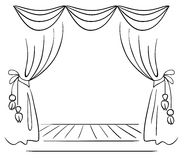 Theater stage vector sketch Stock Photos