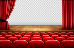 Theater stage with wooden floor and open red curtains Stock Photo