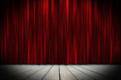 Theater stage. Wooden theater stage with red curtains Royalty Free Stock Photo