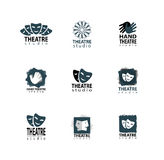 Theater studio logo design set. Set Of Theatre Studio Logo Design With Hand And Mask Royalty Free Stock Image