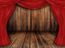 Theater, theater stage. With curtains of red is good for advertising Royalty Free Stock Photography