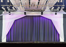 Theater  theatre. Modern theater / theatre with curtain and spot light lighting rig and stage Stock Photo
