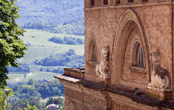 Theater of Urbino. The theater of Urbino and on the background the surrounding Royalty Free Stock Photos