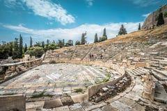 Theater van Dionysus bij de voet van Akropolis, Athene, Griekenland royalty-vrije stock afbeeldingen