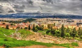 Theater van Dionysus Eleuthereus in Athene royalty-vrije stock foto
