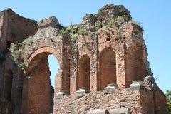 Theater van Taormina, Italië Stock Afbeeldingen
