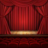 Theater vector concept, classic scene with curtains stock illustration