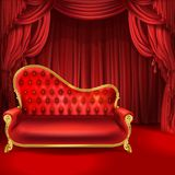 Theater vector concept, red sofa, scene curtains vector illustration