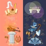 Theater vlakke banner Stock Afbeeldingen