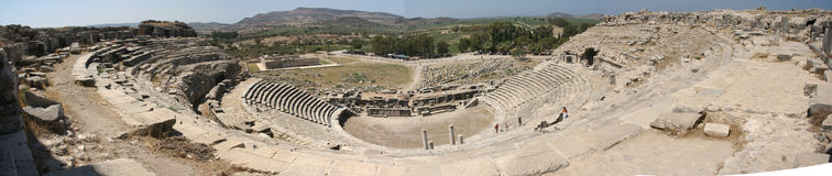 Theater von Miletus panoramisch Lizenzfreies Stockbild