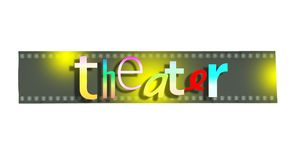 `Theater` word written in various colors and with random characters on empty film strip. `Theater` word written in various colors and random characters on empty Royalty Free Stock Photography