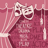 Theatergordijnen met maskers in cketchstijl Royalty-vrije Stock Fotografie